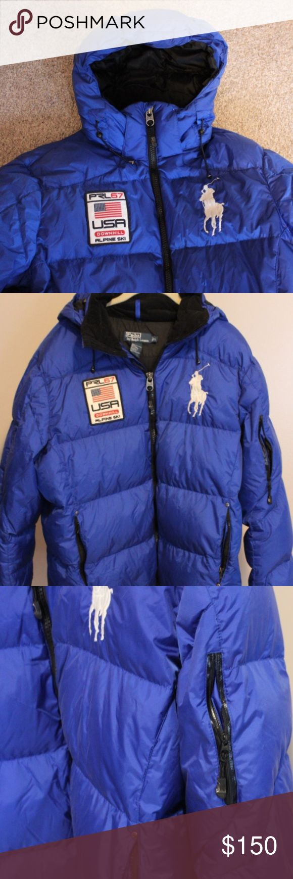 Down olymplic Polo jacket Get ready for the Olympics in style.  Super warm 80% down filled.  Zipper pockets on sleeve, inside and two front pockets.  Detachable hood.  Could be worn as women size L.  Slightly smaller size if men's .  Jacket like new.  Warm warm warm. Polo by Ralph Lauren Jackets & Coats Puffers