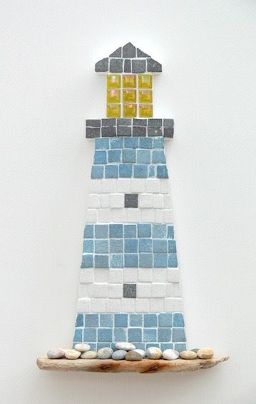 Blue and White Lighthouse Mosaic Wall Art by Rana Cullimore www.ranacullimore.co.uk