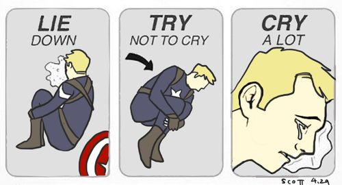 Lie down, try not to cry, cry a lot. Steve Rogers, Captain America meme.