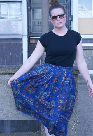 Blue Paisley print skirt size 12-14
