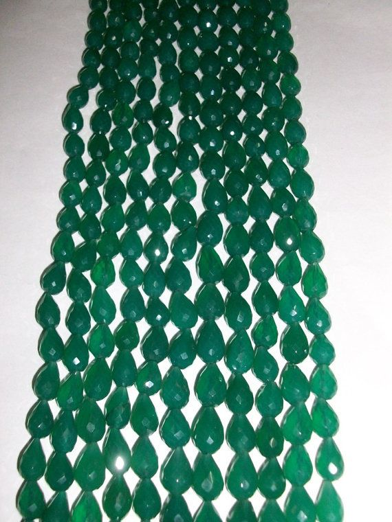 6x11 mm  8x12 mm Tear Drop natural genuine GREEN onyx by GEMSDEAL