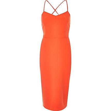 Orange strappy bodycon cami dress $80.00