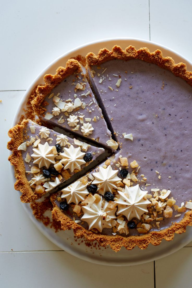 Get the recipe for this Blueberry + Coconut Tart topped with Sahale Snacks here! #sponsored