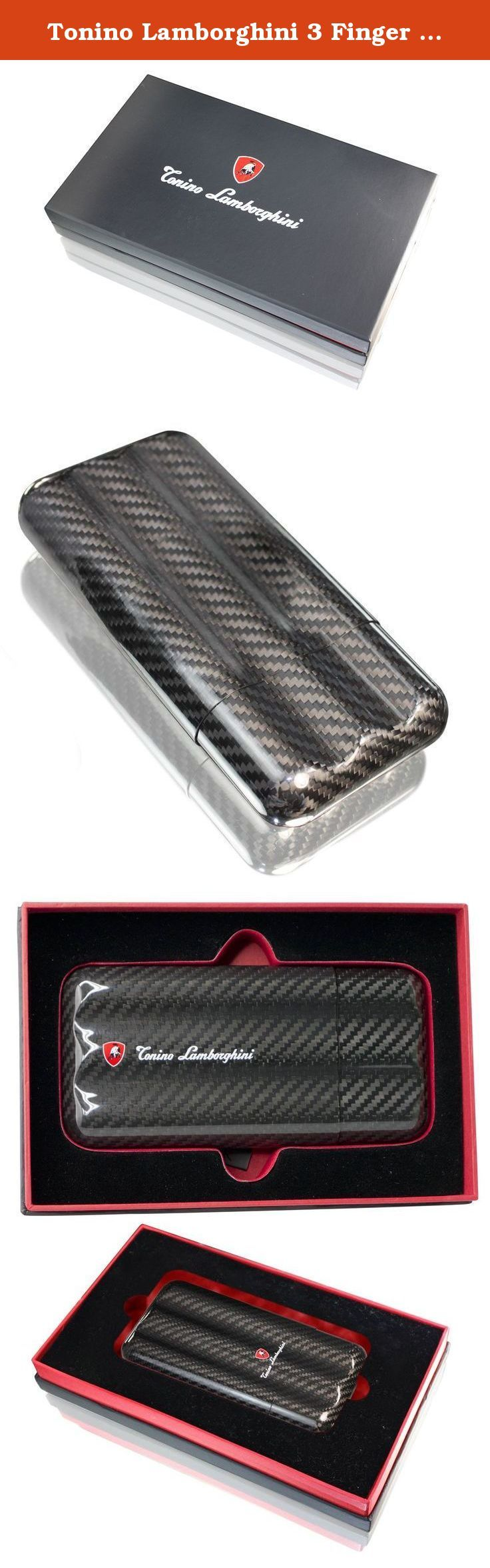Tonino Lamborghini 3 Finger Carbon Fiber Cigar Case. This Tonino Lamborghini travel cigar tube features a carbon fiber body and holds three cigars. The tube is size adjustable for multiple sizes of cigars. It comes in a black gift box ready to be wrapped.