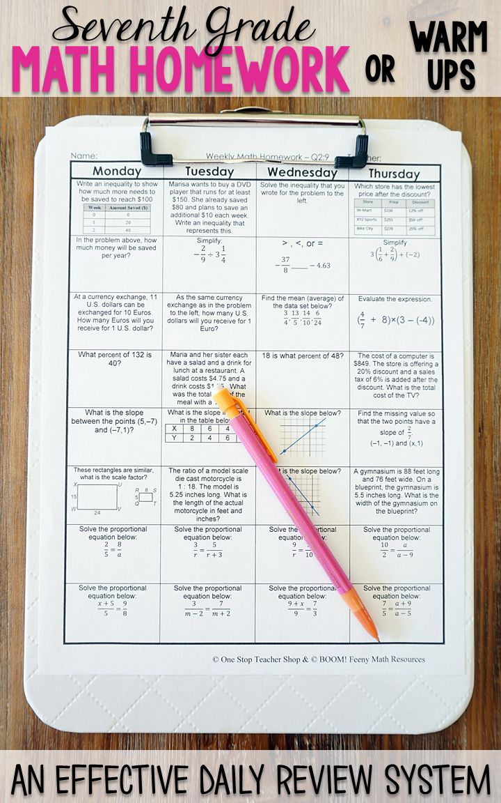 Seventh grade math homework or warm ups that provide a daily review for 7th grade math standards. This seventh grade spiral math review resource is fully EDITABLE and comes with answer keys and a pacing guide.