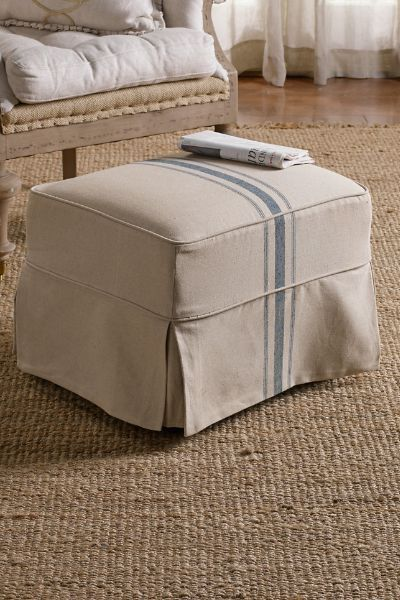 Slipcovered Tristan Ottoman - Slipcover Ottoman, Linen Covered Ottoman, Matching Ottoman | Soft Surroundings