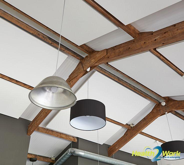 Akoestische plafondpanelen stijlvol in plafond ingebouwd