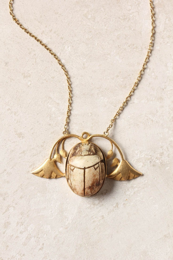 horn & gold beetle necklace