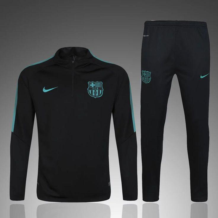 Barcelona 2017 Men Tracksuit Slim Fit Black With Green