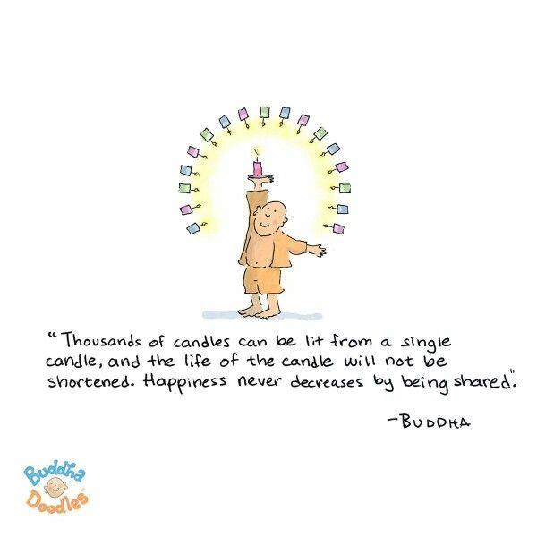 """""""Miles de velas pueden encenderse de una sola vela, y la vida fe la vela no se acortará. La felicidad nunca decrece si es compartida"""" Buddha."""