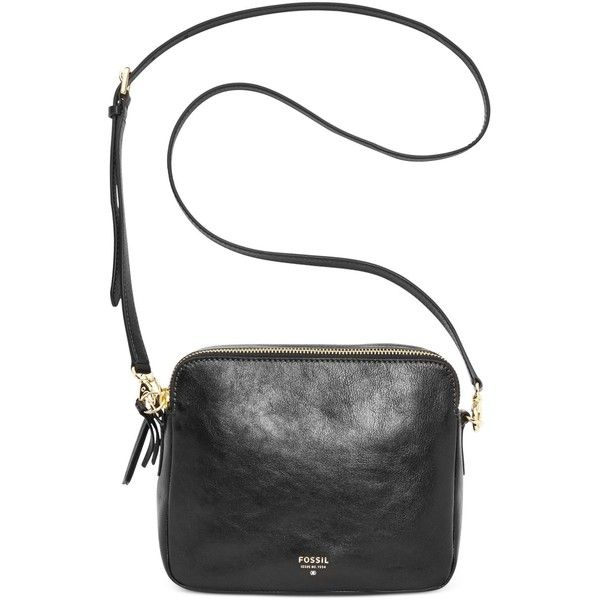 Fossil Sydney Leather Crossbody ($128) ❤ liked on Polyvore featuring bags, handbags, shoulder bags, black, leather cross body purse, black crossbody, black purse, leather handbags and fossil crossbody