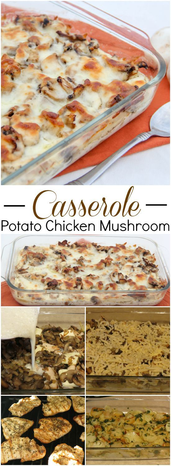 One dish casserole with potatoes, chicken mushrooms and cheese. Oh my!!. ValentinasCorner.com