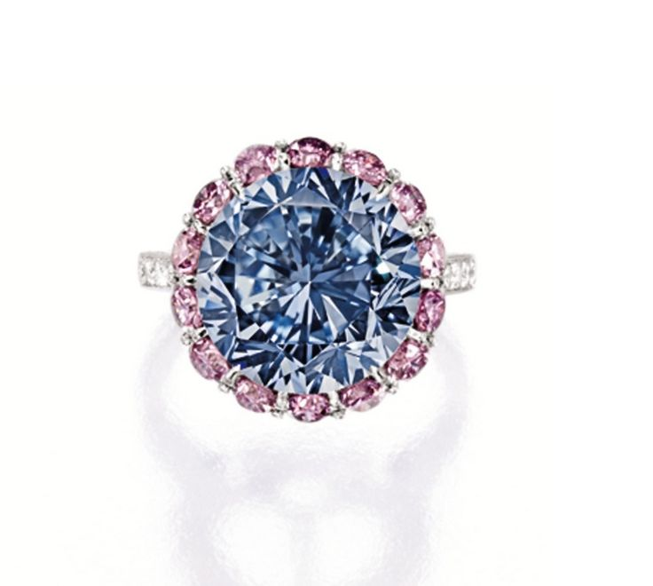 EXCEPTIONALLY RARE AND HIGHLY IMPORTANT FANCY VIVID BLUE DIAMOND, PINK DIAMOND AND DIAMOND RING