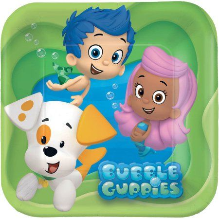 Bubble Guppies 7 inch Square Plates, 8 Count, Party Supplies, Multicolor