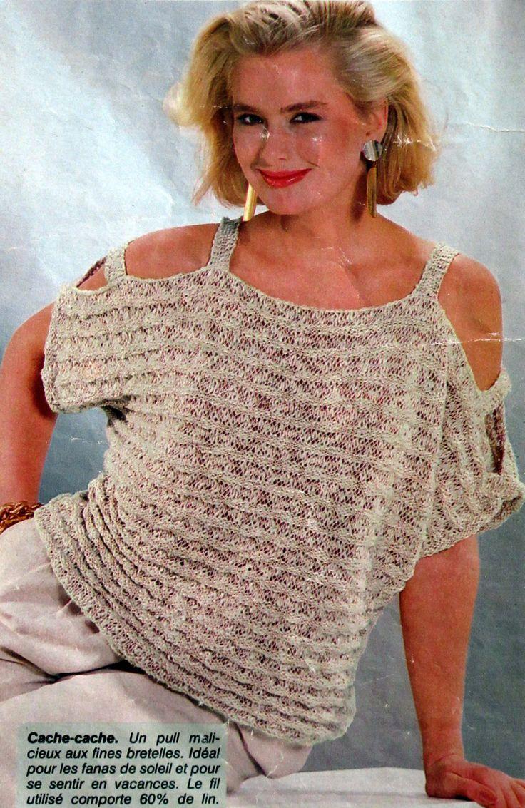 Un petit pull femme pour l'été .. T36.38 et T40.42 tuto :  http://tricotdamandine.over-blog.com/-6