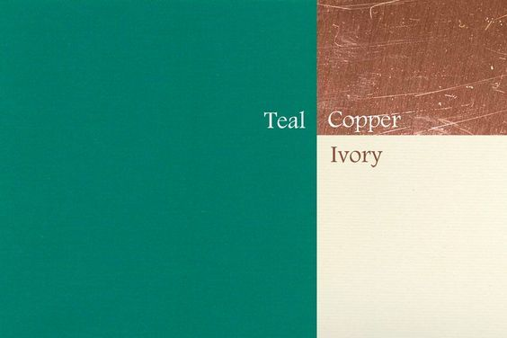 KITCHEN COLOR SCHEME- Ivory cabinets, Copper accents, teal pop color