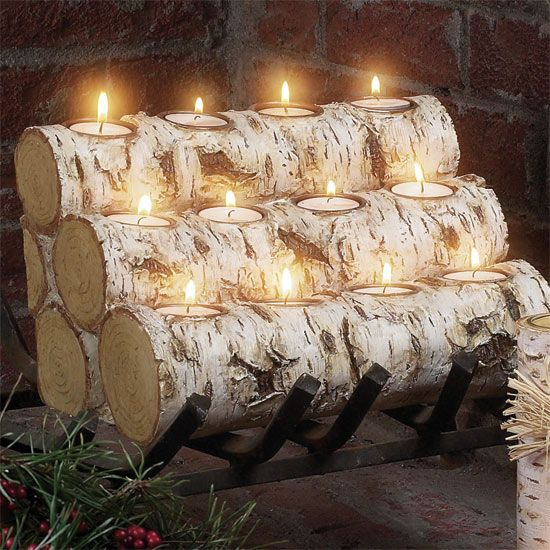 ePier - BRAND NEW Birch LOG 12-Tea Light Candleholder ~ GIFT