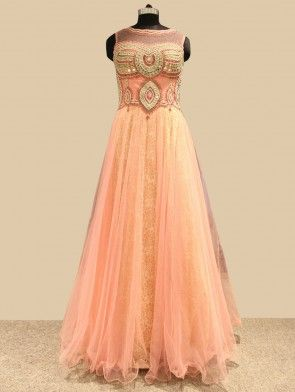 Pink Net Wedding Gown With Embroidery Work (Free Size)