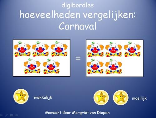 Hoeveelheden vergelijken Thema Carnaval