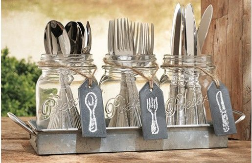 If you're in LOVE with everything mason jar, then these mason jar centerpieces will put hearts in your eyes! This utensil caddy or mason jar utensil holder will be great for parties and perfect for holding candles! For more visit, www.decorsteals.com OR www.facebook.com/decorsteals.