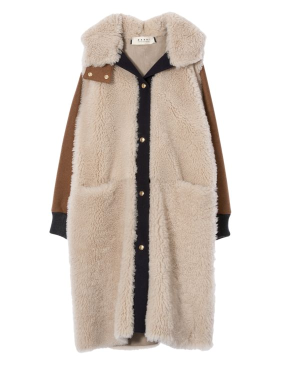 Tan Shearling Parka with Brown and Black Trim, perfect neutral coat for a chilly winter!