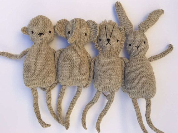 Natural toy collection using undyed wool by OnlyOneKnitToys #etsy #knitted #gift #natural