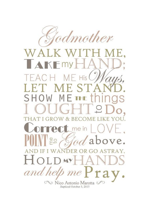 Perfect gift for Godparent(s). The beautiful poem reads as follows: Godmother/Godfather/Godparents Walk with me, Take my hand Teach me his ways, Let me stand. Show me the things I ought to do, That I grow and become like you. Correct me in love, Point me to God above. And if I wonder or go astray, Hold my hands And help me pray. The Print measures 5x7 or 8x10 INFORMATION NEEDED: *Please write in the notes to seller section the following information: Name of child being baptize...