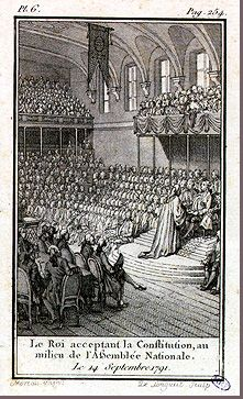 The King Accepting the Constitution amid the National Assembly, 14 September 1791  The Estates–General, reborn as the National Assembly, finished its work by completing a new constitution. This document provided for an executive—the King—as well as a legislative body. Suffrage was male and restricted to certain economic levels. Overall, it was a moderate document that created a constitutional monarch and privileged the wealthy to a considerable degree at a time when the monarchy had…