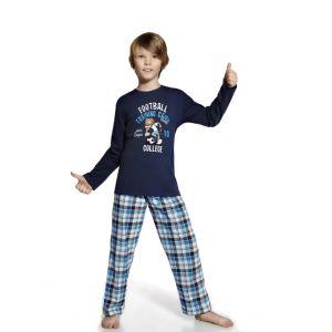 De Cornette Football kinderpyjama van Corazonkids blauw met geruite broek. De Cornette kinderpyjama van CorazonKids met een geruite broek is erg mooi en hip.. Het shirt heeft een leuke opdruk. De Cornette kinderpyjama van CorazonKids is van goede kwaliteit.