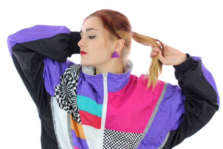 80s Colorblocked Windbreaker Jacket 90s Vintage Neon Checkers 1980s 1990s Colorblock Workout Running Unisex Mens Wome Large L Medium M by neonthreadsdesigns on Etsy
