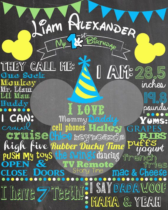 Custom First Birthday Colored Chalkboard Poster