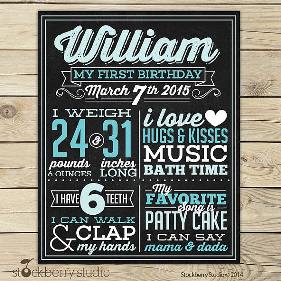 Boy First Birthday Chalkboard Poster Printable by stockberrystudio