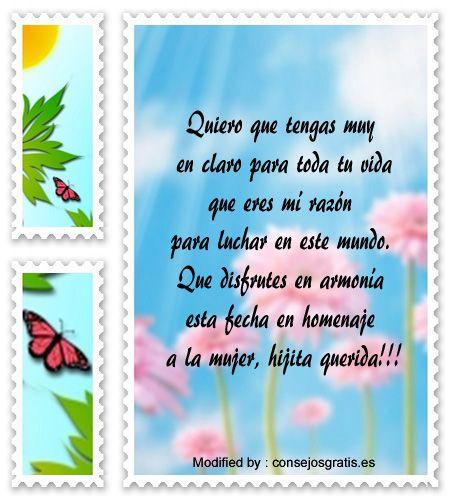 enviar postales por el dia de la mujer,enviar frases y tarjetas por el dia de la mujer: http://www.consejosgratis.es/mensajes-por-el-dia-de-la-mujer-para-una-madre-soltera/