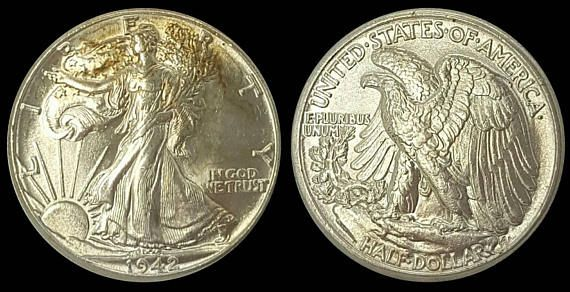 Check out this item in my Etsy shop https://www.etsy.com/listing/532520782/1942-silver-walking-liberty-half-dollar