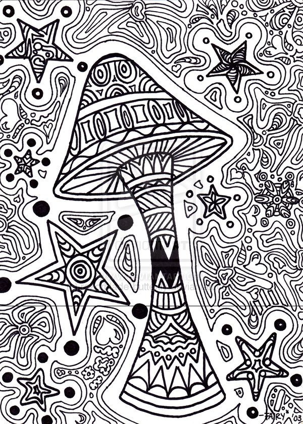 trippy coloring pages printable star shroom by razorblade butterfly