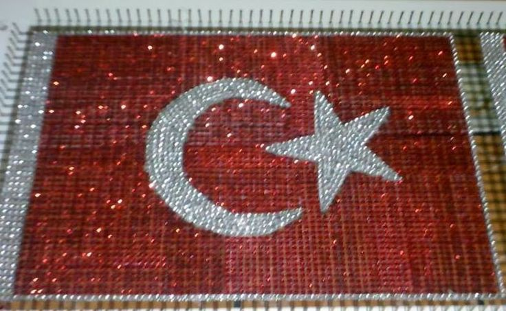 Hobilendik Türk Bayrağı Kasnak İşi