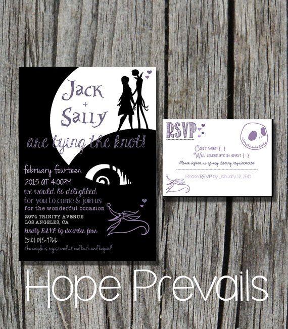 Jack Skellington Nightmare Before Christmas Disney Wedding Invitation PDF  Printable Custom DIY Wedding Save The Date RSVP Wedding Invitation