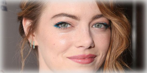Emma Stone with blue cat eye