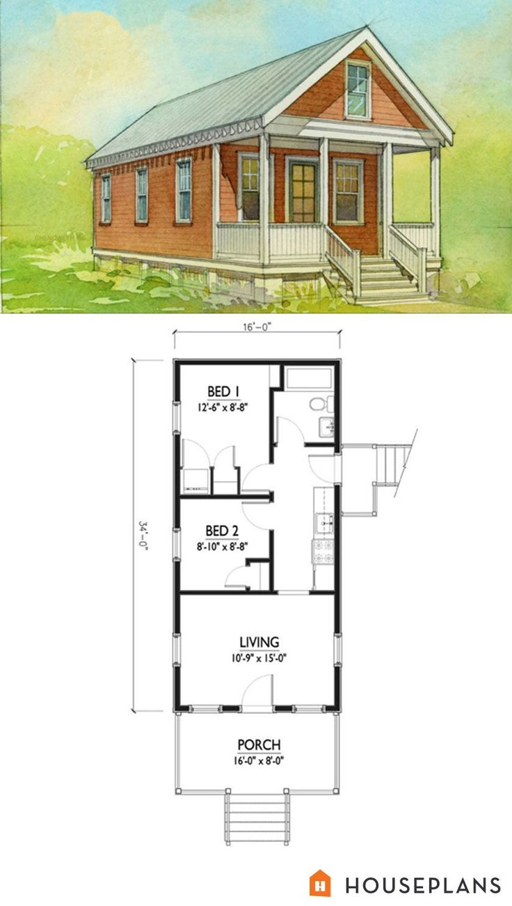 Small Katrina Cottage House Plan.  500sft 2br 1 bath by Marianne Cusato.  Houseplans Plan #514-5