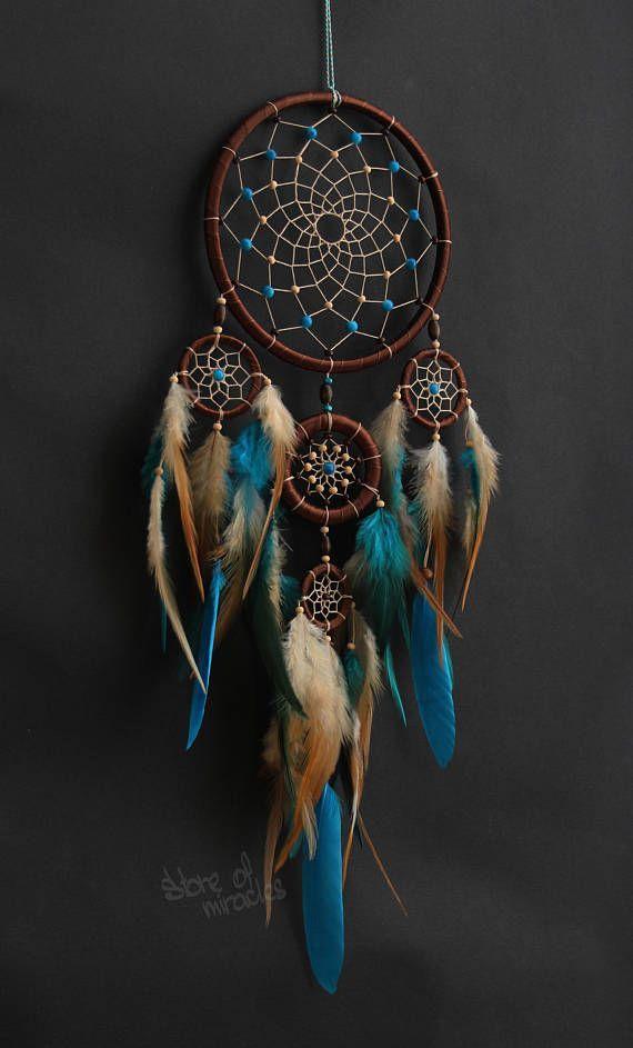 Dream catcher Dreamcatcher mascotas americanas talismán indio azul azul marrón beige color Boho Home Decor nativo americano