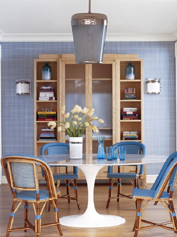 Contemporary Dining Room Style Featured Nice Blue Wallpaper Ideas