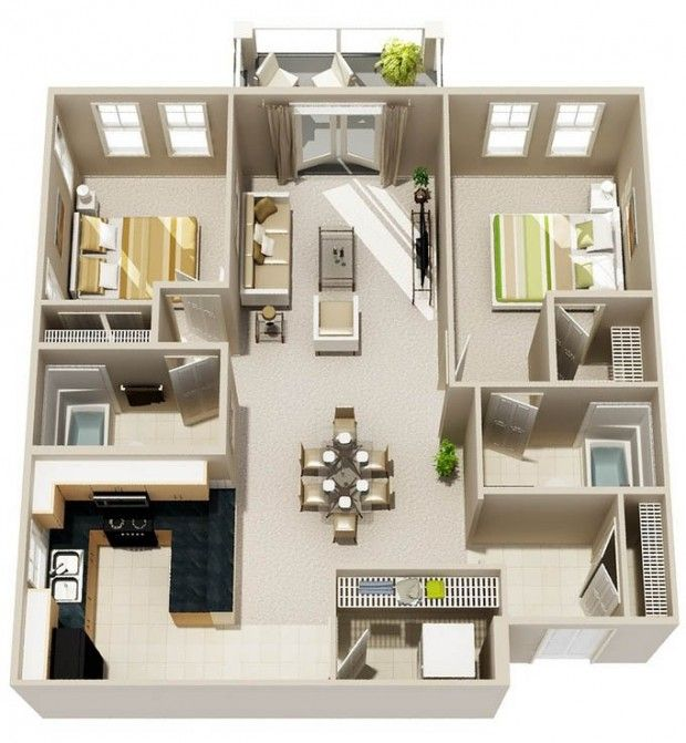 Wonderful 50 Two Bedroom Apartment/House Plans