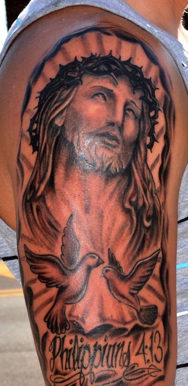 Jesus half sleeve tattoo tattoo work pinterest for Tattoos of black jesus