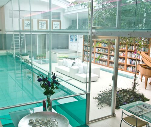 Glass / water / books / wood / nature