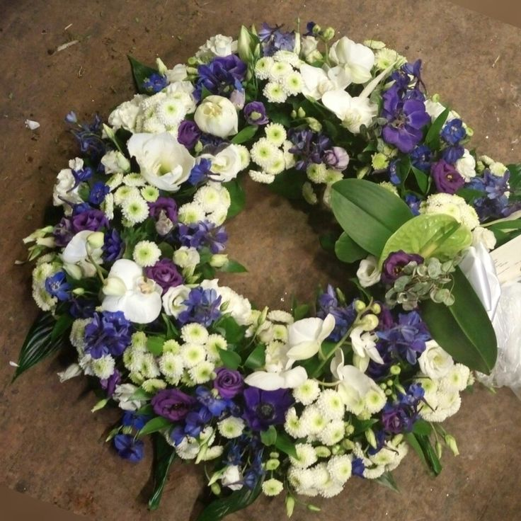 Funeral Wreath with White phalenopsis orchids