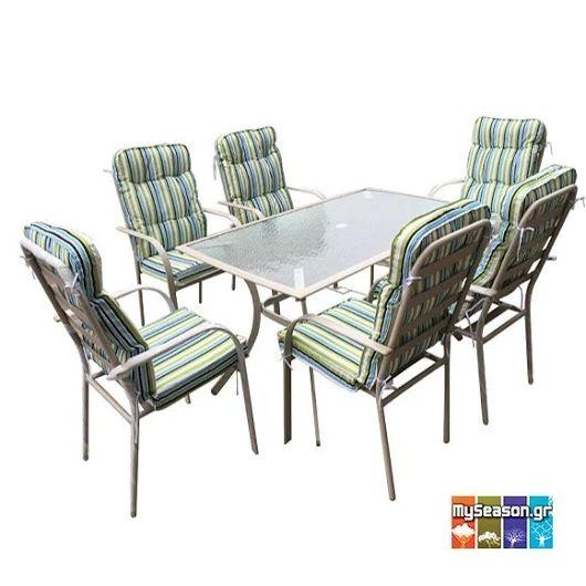 Τραπεζαρία κήπου με μεταλλικό σκελετό σε μπεζ χρώμα, τραπέζι με γυάλινη επιφάνεια και πολυθρόνες με ριγέ μαξιλάρι. ☀ Το set αποτελείται από έξι πολυθρόνες και ένα τραπέζι και θα το βρείτε στο #MySeason με έκπτωση! ☀  https://goo.gl/A3FEvS  #Έπιπλα #Κήπου #Κήπος #Βεράντα #Μπαλκόνι #Τραπεζαρία #Καλοκαίρι