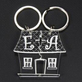 Porte clé couple à personnaliser, gravé - maison coupée en 2