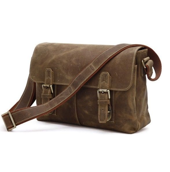 Image of Handmade Crazy Horse Leather Briefcase/Messenger/Shoulder Tote Bag Computer Bag--FREE SHIPPING