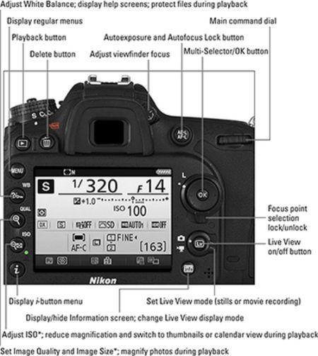 Nikon DSLR cheat sheet rear view of Nikon D7200