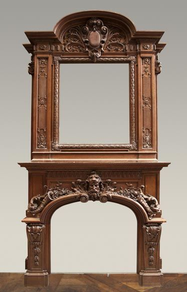 antique oak wood fireplace made after the model of the fireplace in the Hercules Salon in Versailles Palace